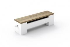 Vykurovacia lavica Koraline LD opatrená drevenou krycou doskou predstavuje preverené a  múdre spojenie dizajnu, výkonu a úžitkových vlastností (KORADO)