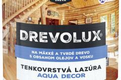 DREVOLUX AQUA DECOR je nová tenkovrstvá olejová lazúra na vodnej báze s obsahom vosku bez biocídov. Chráni drevo pred starnutím, nepraská, neodlupuje sa a nezapácha (CHEMOLAK)