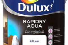 DULUX RAPIDRY AQUA na drevené, kovové i plastové povrchy. Ide o univerzálnu vodou riediteľnú farbu vhodnú do interiéru i exteriéru. Vyberať možno z 16 farebných odtieňov (DULUX)