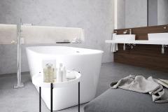 Vaňa Solo (178 x 80 cm) bude vďaka svojmu nevšednému tvaru v každej kúpeľni dominantná. Chce to len správne umiestnenie a dostatok voľného priestoru (RAVAK)