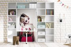 Medzi knižnicu je začlenená výklopná posteľ, ktorá sa po zaklopení premení na pracovný stolík. Akúkoľvek plochu nábytku možno opatriť potlačou s vlastným motívom či snímkou z databázy, Lagrama, cena 4 273,40 eur, www.space4kids.cz