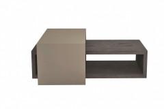 Variabilný konferenčný stolík KS42 tvoria dva do seba zapadajúce kusy, vyhotovenie lak mocca lesk, dyha dub rustikal šedý (Hanák nábytok)