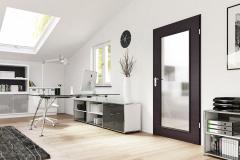 Aj tradične riešené dvere so sklenou tabuľou v drevenom ráme poskytnú dvom samostatným miestnostiam svetlo, ľahkosť a pocit prepojeného priestoru; dvere ZK s dekorom Meling Dark (HÖRMANN)