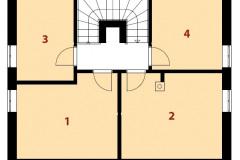 Poschodie: 1 - detská izba, 2 - spálňa, 3 - detská izba, 4 - šatňa