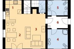 Prízemie: 1 - kuchyňa, 2 - jedáleňm 3 - obývacia izba, 4 - tech. miestnosť, 5 - zádverie, 6 - kúpeľňa