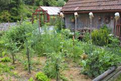 Nevyhnutná zeleninová záhradka ozdobená stĺpikmi so slamou v hrnčekoch, ktoré slúžia okrem iného ako úkryt pre užitočný hmyz