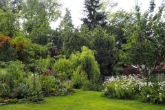 Pohľad do severozápadnej časti záhrady so skleníkom a malým jazierkom