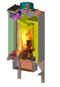 """Pohľad na proces spaľovania v komore """"úzkej"""" kozubovej vložky. Okrem vysokej účinnosti sú jej výhodou aj menšie priestorové nároky"""