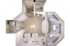 Rovnako ako v prípade projektovania ostatných priestorov rodinného domu je vhodné pohrať sa aj s interiérom novej alebo rekonštruovanej kúpeľne. rozmiestnenie sanity a vôbec vybavenia kúpeľne závisí od umiestnenia tepelného zdroja (ohrev vody, vykurovanie), rozvodov vody a odpadov