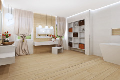 Kúpeľňa je síce veľká, pôvodné usporiadanie  však nebolo praktické ani estetické a kvôli množstvu nábytku pôsobila preplneným dojmom. Kvôli oknám a dverám, ktoré neumožnili dostatočne využiť miesto pri stenách,  zvolili vaňu v rohu, na sprchovanie slúži sprchovací kút typu walk-in. Zrušením jedných dverí sa uvoľnilo miesto pre nástennú policovú zostavu. riešenie navrhla interiérová dizajnérka Soňa němečková z oddelenia dizajnu Siko Kúpeľne & Kuchyne