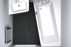 Koncept 10° značky Ravak docielil čisté línie miernou rotáciou o uhol 10°. Asymetrická vaňa ponúka širší sprchovací priestor utesnený zástenou a veľkú odkladaciu plochu využiteľnú aj ako sedadlo, www.ravak.sk