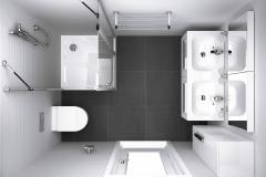 Optimálne úsporné riešenie obdĺžnikovej kúpeľne s rozmermi cca 160 × 210 cm. Kúpeľňová séria Chrome ponúka kompletný a variabilný sortiment vybavenia od umývadiel cez WC misy až po nábytok a doplnky v jednotnom dizajne, www.ravak.sk