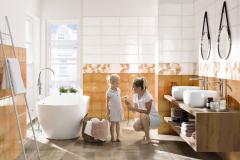 """Séria Retro kombinuje efekt """"vintage"""" s geometrickým dekorom. Obklad sa vyrába vo formáte 20 × 40 cm, v tlmenej oranžovej a dvoch odtieňoch bielej farby (RAKO)"""