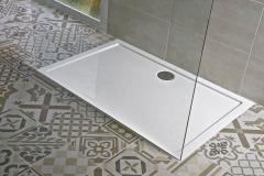 Sprchová vanička Padana z liateho mramoru, jednoduchá údržba, odolnosť proti opotrebovaniu a UV žiareniu, 1 000 × 800 mm, výška 3 cm, Jika, www.jika.sk
