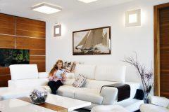 V obývacej izbe prispieva k pohode pohľad na zabudované akvárium