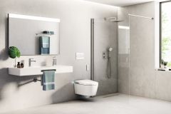 Ak zvolíte moderné riešenie sprchy bez vaničky, musíte si byť istí, že povrch dlážky je dokonale nekĺzavý. Dlažba zo série Downtown má protišmyk r 11 a formát 120 × 140 cm (ROCA)