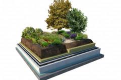 Strešná záhrada. Hrúbka vegetačnej vrstvy začína na 300 mm (výnimkou nie je hrúbka 500 až 1 000 mm), substrát možno čiastočne nahradiť hydrofilnou vlnou