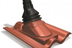 PRE MÉDIA - výrobca: Benders, www.benders.sk. Prestup na anténu v podobe plastovej strešnej škridle Palema, čierny nástavec sa vyrába z gumy