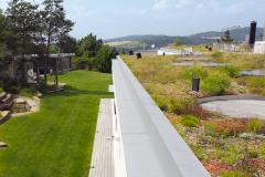Trávobylinná pobytová zelená strecha na rodinnom dome opticky aj sortimentom nadväzuje na riešenie záhrady. získala 1. miesto v súťaži zelené strechy 2017 (záhradná architektúra Kurz)