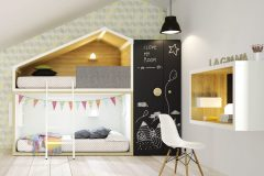 Kompozícia detskej izby z nového katalógu firmy Lagrama inšpirovaná prírodou, cena 5 669,20 eur (posteľ Cottage), www.space4kids.cz