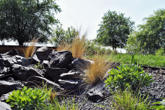 Skalnaté stepné partie nájdete v blízkosti domu, samostatné nášľapné kamene v záhonoch a na cestách