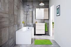 Kúpeľňovú sériu tigo značky JiKA vyvinuli špeciálne pre malé kúpeľne. K asymetrickej vani s rozmermi 160 × 80/70 cm si môžete objednať aj sprchovaciu zástenu (www.jika.sk)