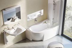 Kúpeľňový koncept Rosa RAVAK zahŕňa vaňu Rosa 95, ako stvorenú pre všetky typy kúpeľní. Vďaka atypickému tvaru a sprchovej zástene umožňuje tak pohodlné kúpanie, ako aj plnohodnotné sprchovanie. Šírka 95 cm, dĺžka 150/160 cm (www.ravak.sk)