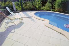Okolie bazéna je veľmi dôležité. Tvorí ho väčšinou dlažba, preto sa rastliny umiestňujú až za túto zónu. Do škár sa hodia niektoré byliny, ktoré znesú horúčavy či zašliapnutie, napríklad skalnica (HORNBACH)