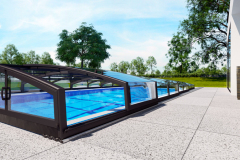 Pri plánovaní bazéna treba myslieťaj na jeho zastrešenie, predĺži kúpaciusezónu a zabezpečí ho v čase neprítomnosti majiteľov (DESJOYAUX)