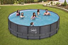 Elegantný rámový bazén Swing Frame ratan sa hodí pre tých, ktorí hľadajú jednoduché riešenie na letné kúpanie. Na zostavenie nepotrebujete žiadne náradie (MOUNTFIELD)